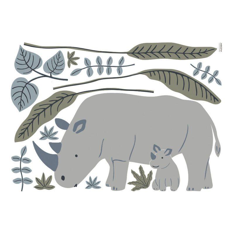 Neushoorn Muursticker Xl Tanzania Lilipinso Grote Sticker Kinderkamer Babykamer Natuur Savane Safari Dieren Rhino Thema QIDDIE.com lili-S1399