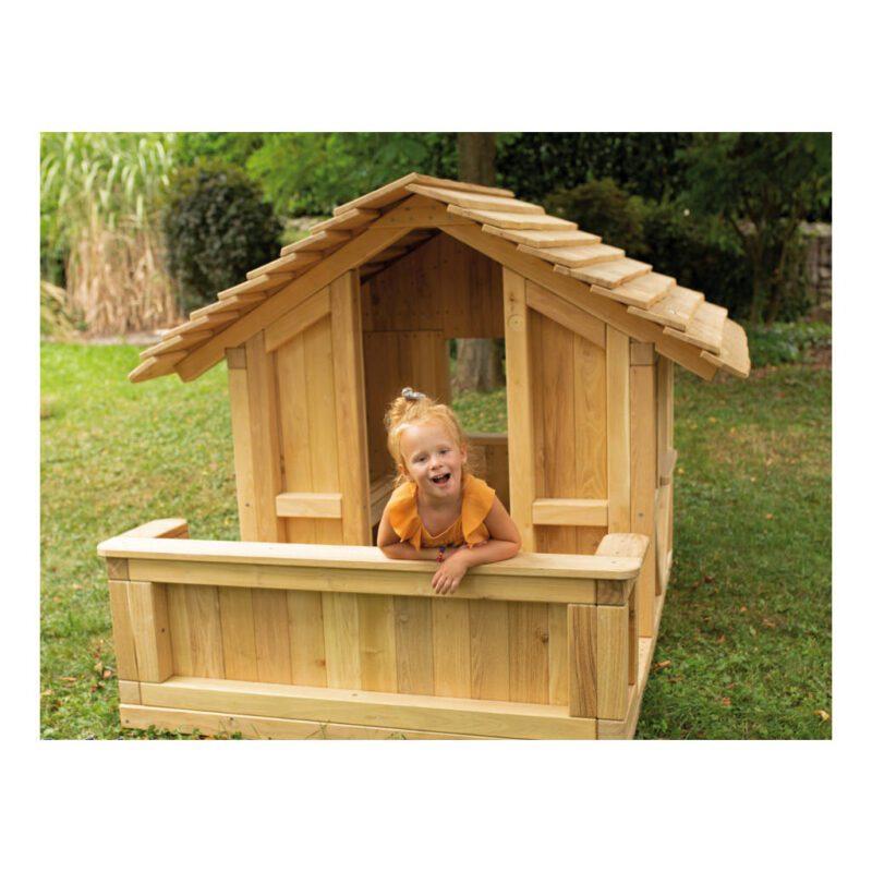 Robinia Houten Speelhuis Met Terras Kinderhuisje Duurzaam Speel Ontdek Schuil Tuin Speelplaats QIDDIE.com edup-BT-SHR-100-2