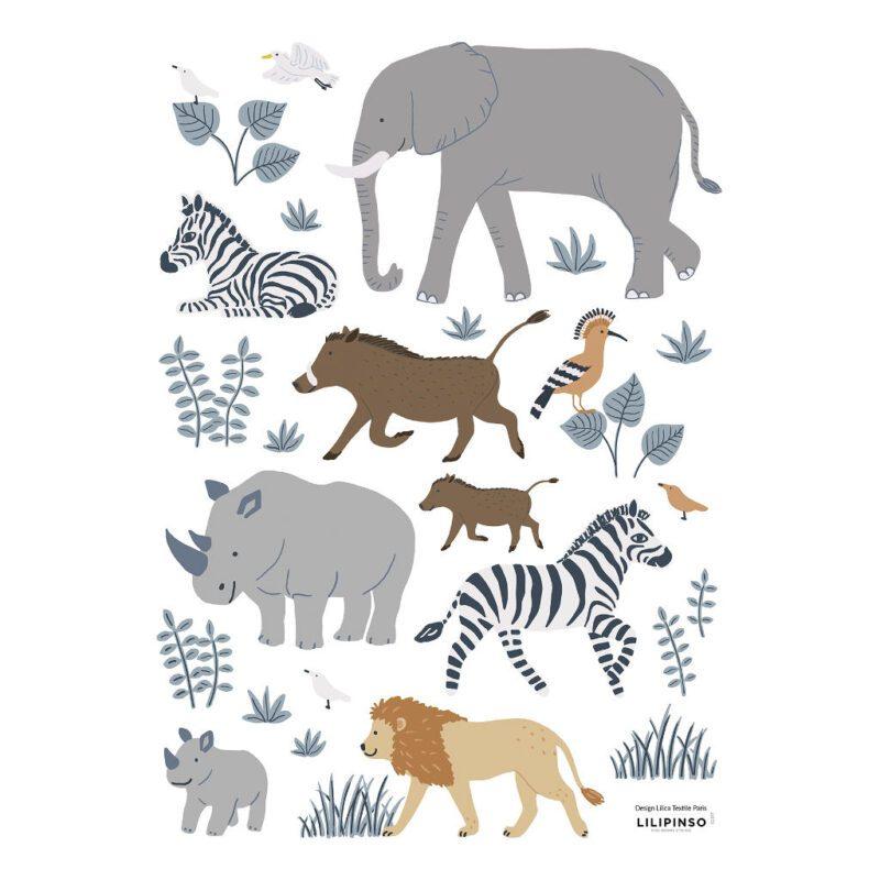 Safari Dieren 1 Muursticker A3 Tanzania Lilipinso Savanne Dier Olifant Neushoorn Giraf Natuur QIDDIE.com lili-S1397