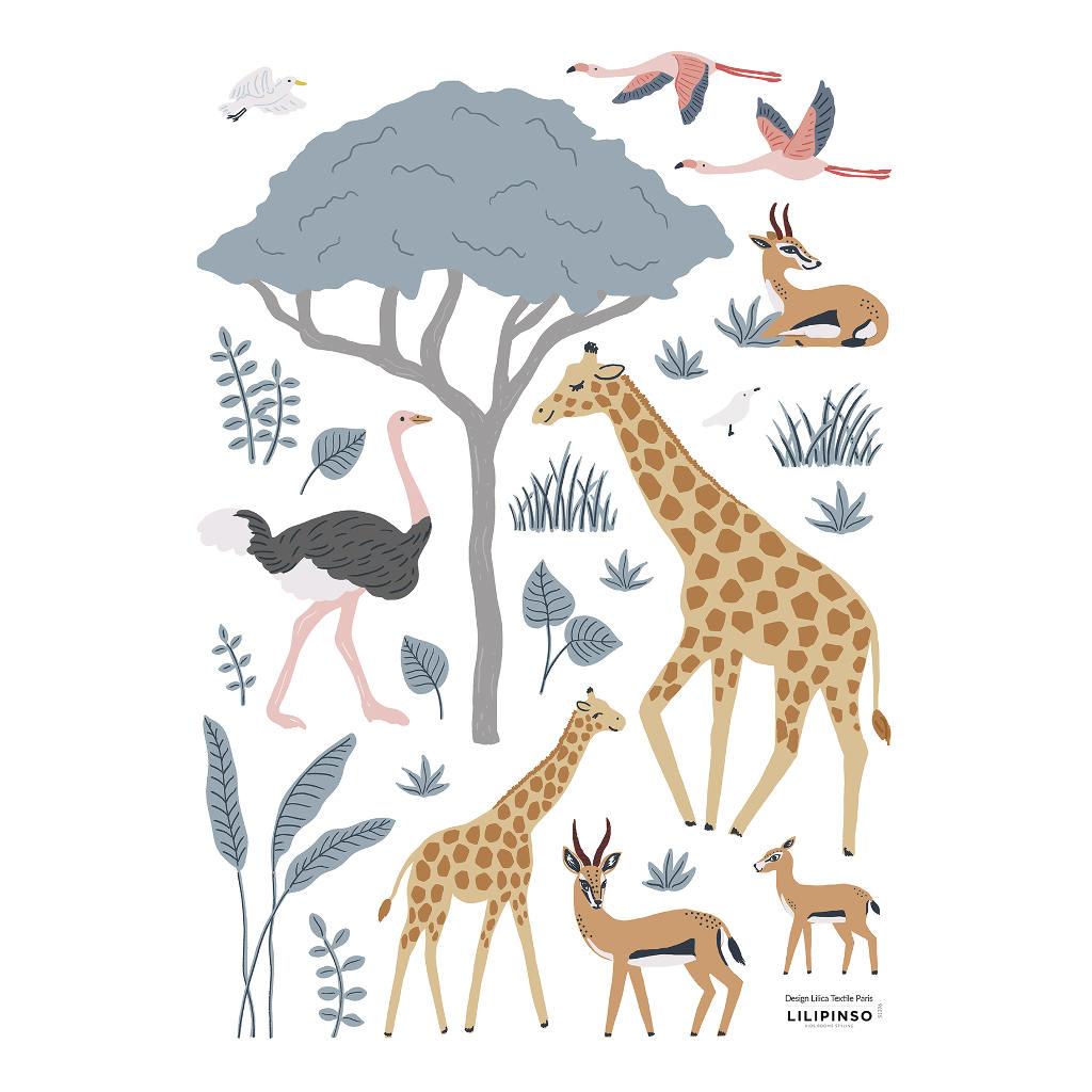 Safari Dieren 2 Muursticker A3 Tanzania Lilipinso Kinderkamer Babykamer Speelkamer Wachtruimte Diertjes Wilde Dieren Uit Savanne QIDDIE.com lili-S1396