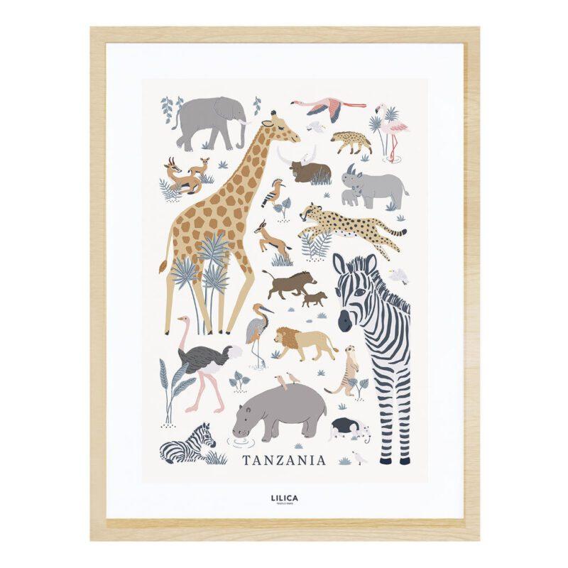 Safari Dieren Poster Tanzania Lilipinso Wild Animals African Wilde Dieren Kinderkamer Muurdecoratie Zebra Babykamer Giraf Olifant Neushoorn QIDDIE.com lili-P0298C