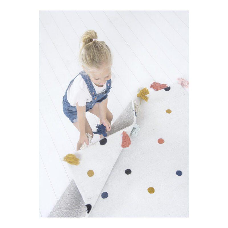 Stippen Multicolour Vloerkleed Minima Lilipinso Babykamer Kinderkamer 170 x 120 cm Kleedje QIDDIE.com lili-H0628