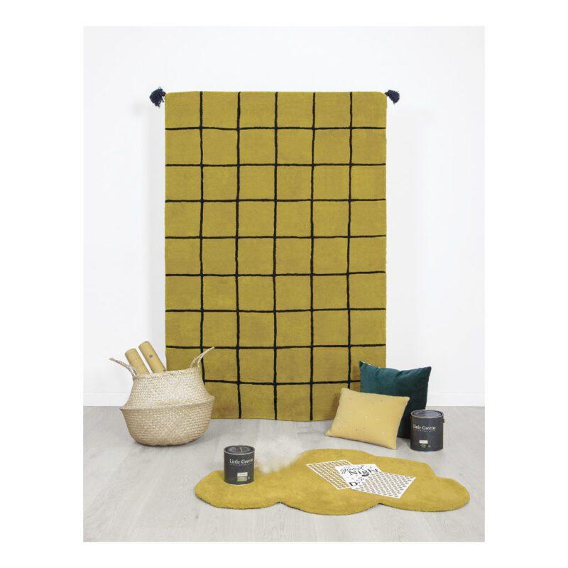 Vakjes Mustard Vloerkleed Minima Lilipinso Oker Geel Vierkanten Vierkantjes Speelkleed QIDDIE.com lili-H0630