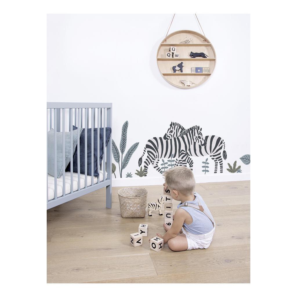 Zebra Muursticker Xl Tanzania Lilipinso Kinder Kamer Natuur Dieren Takken Bladeren Aankleding Versieren Speels QIDDIE.com lili-S1400