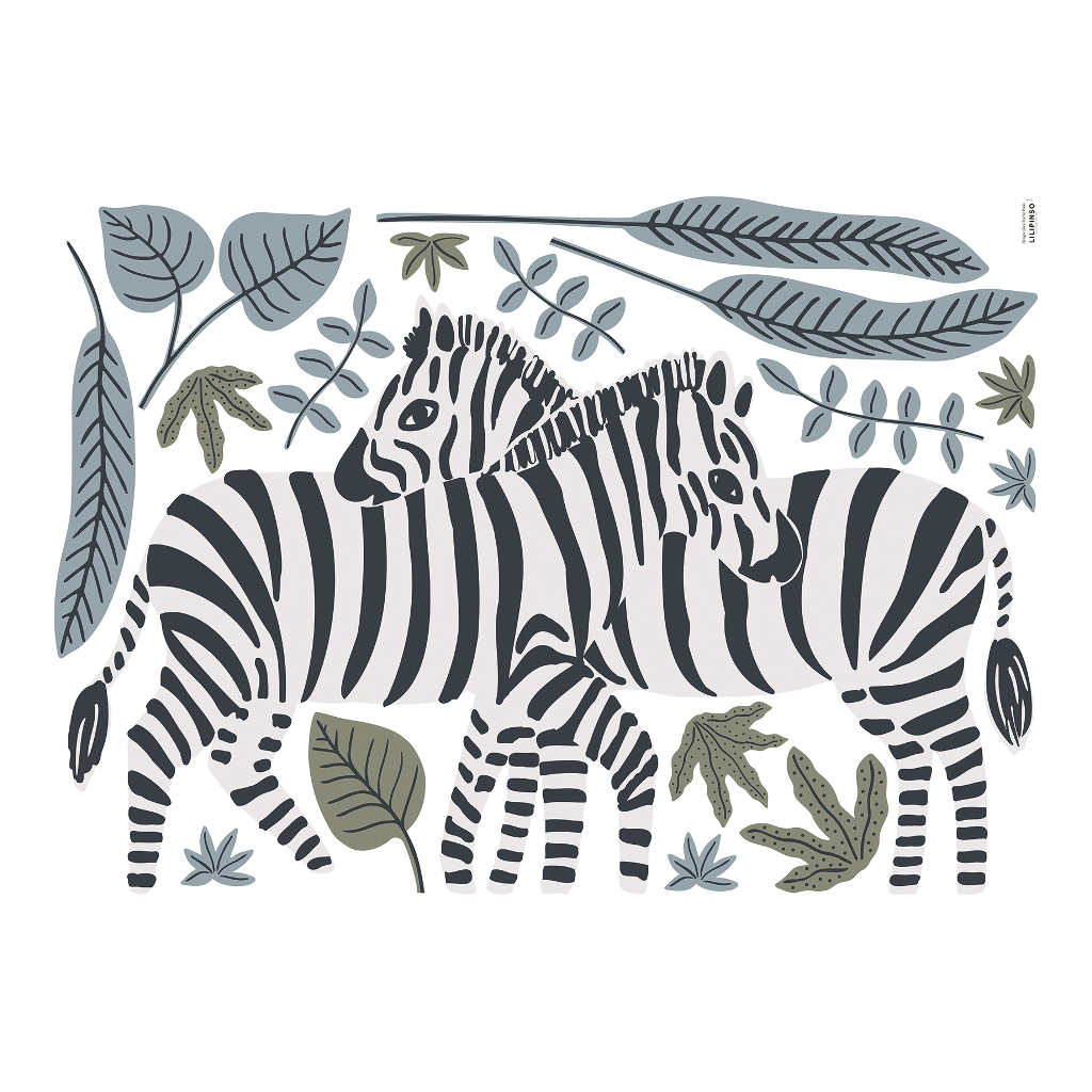 Zebra Muursticker Xl Tanzania Lilipinso Muur Sticker Groot Jungle Savane Safari Kinderkamer Babykamer QIDDIE.com lili-S1400
