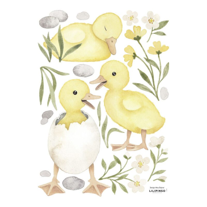 3 Kuikentjes Muursticker A3 Lucky Ducky Lilipinso Muur Decoratie Kinderkamer Babykamer Jongen Meisje QIDDIE.com lili-S1394