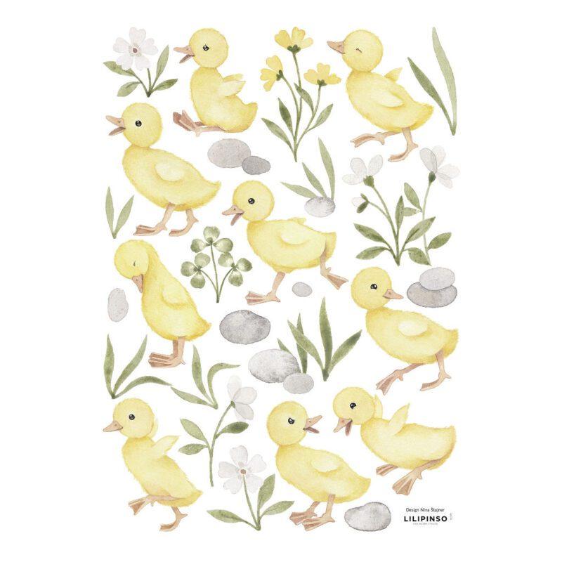 Baby Kuikentjes Muursticker A3 Lucky Ducky Lilipinso Muur Decoratie Kinderkamer Babykamer Kuiken Familie QIDDIE.com lili-S1391