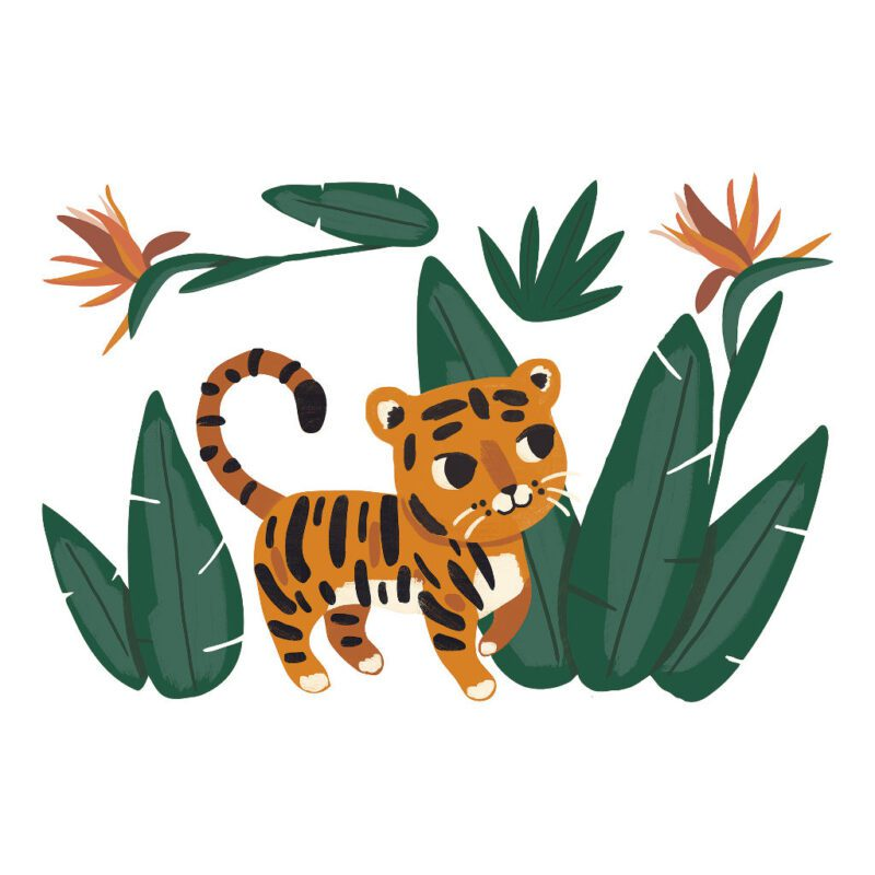 Baby Tijger Muursticker Xl Jungle Night Lilipinso Sluipende Tijger Oerwoud Jungle Safari Ontdekken Mega Sticker Kinder Baby Peuter Kleuter Wacht Kamer QIDDIE.com lili-S1373