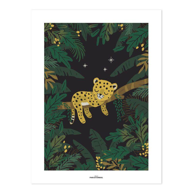 Cheetah & Tropical Leaves By Night Poster Jungle Night Lilipinso Baby Panter Tijger Schilderij Muurdecoratie Jungel Dier Kinderkamer QIDDIE.com lili-P0294-zl