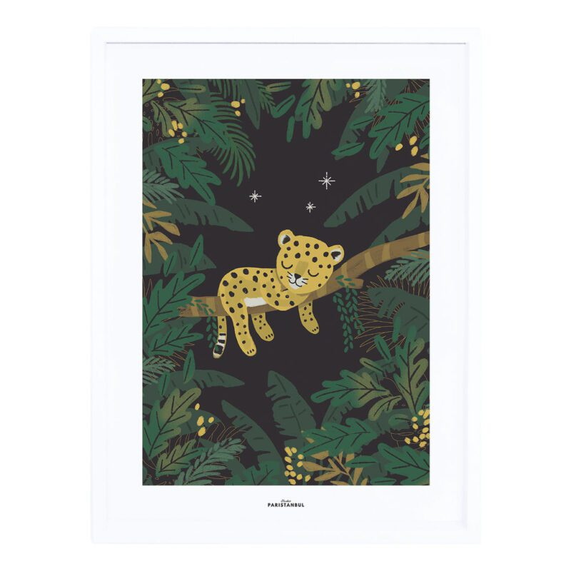 Cheetah & Tropical Leaves By Night Poster Jungle Night Lilipinso Schilderij Slapende Panter Tijger Baby Dier Jungel Oerwoud Kamer QIDDIE.com lili-p0294c