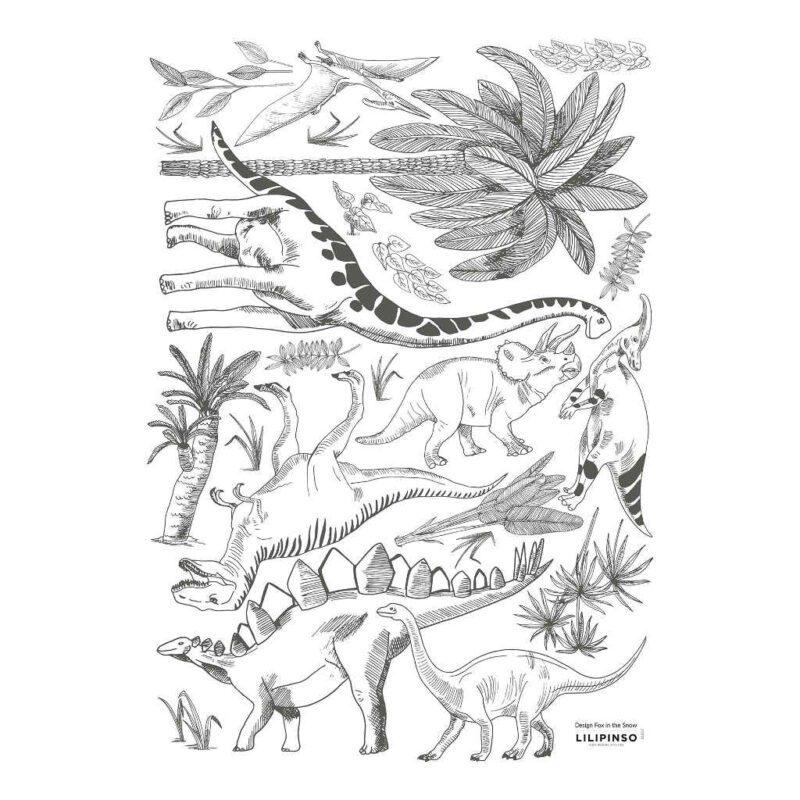 Dino Muursticker A3 Dinosaurus Lilipinso Verschillende Dinos Natuur Familie Zwart Decoratie QIDDIE.com lili-S1357