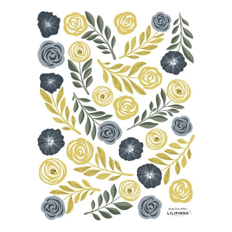 Golden Bloemen En Veren Muursticker Floral Peacock Lilipinso Muur Decoratie Kinderkamer Babykamer Huiskamer Deftig Gouden Bloem Veer QIDDIE.com lili-S1412