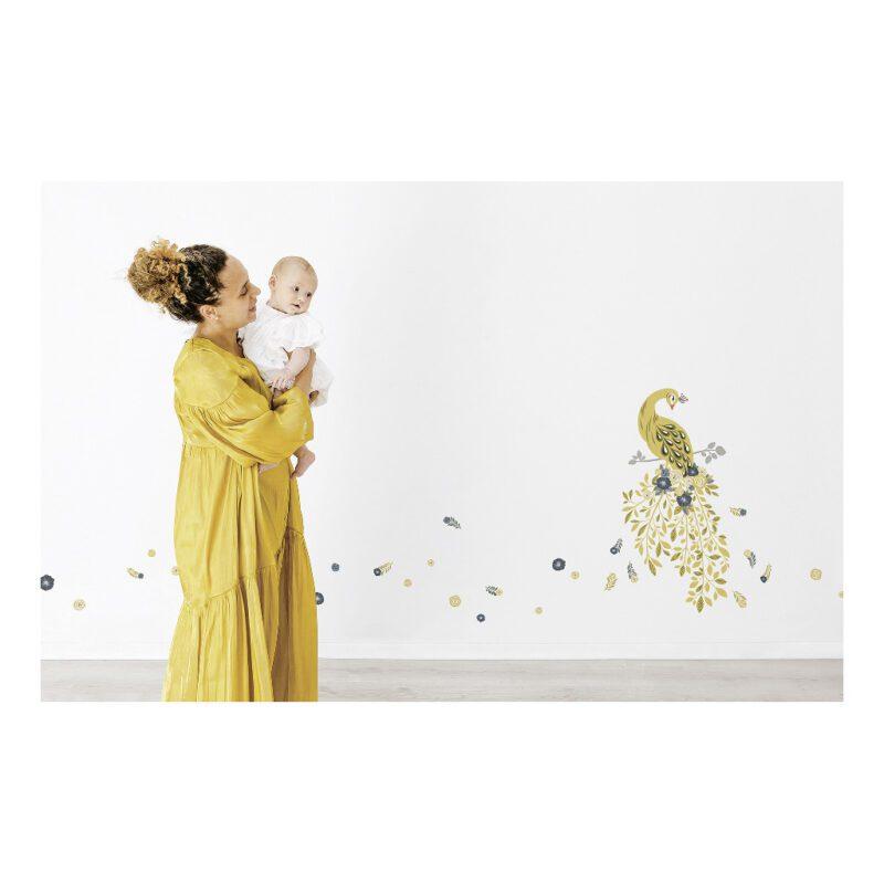 Golden Bloemen En Veren Muursticker Floral Peacock Lilipinso Sfeer Kamertje Kinder Baby Peuter Kleuter Kamer Deftig Chique Pauw QIDDIE.com lili-S1412