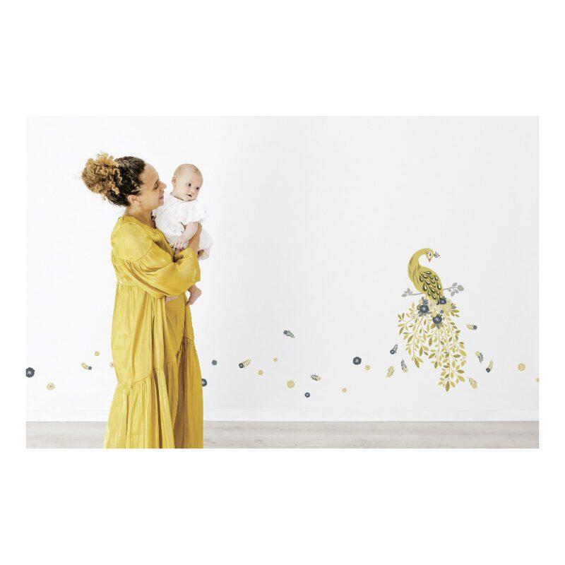Golden Pauw Muursticker Xl Floral Peacock Lilipinso Huiskamer Wachtkamer Chique Deftig Goud Gouden Birth QIDDIE.com lili-S1413