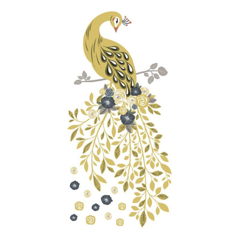 Golden Pauw Muursticker Xl Floral Peacock Lilipinso Mega Pauw Gouden Vogel Muur Sticker Decoratie Kinder Baby Peuter Kleuter Kamer QIDDIE.com lili-S1413