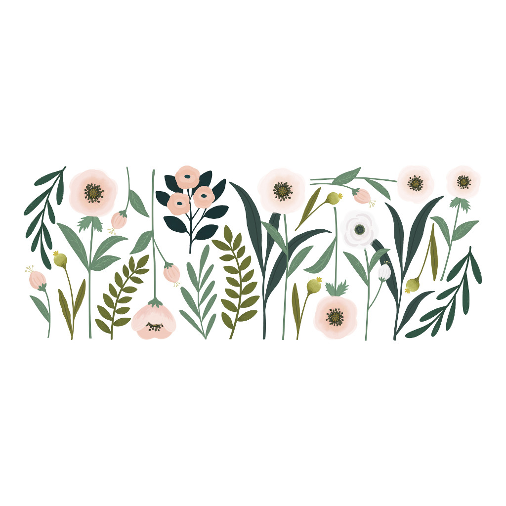 Grote Bloemen Muursticker Xl Wonderland Lilipinso Staande Bloemen Zee Pastel Bloem Plant Lente Bloesem Baby Peuter Kleuter Kinder Huis Wacht Kamer QIDDIE.com lili-S1326
