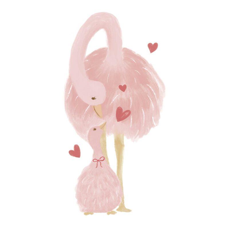 Struisvogel Met Jong Muursticker L Coquette Lilipinso Pink Lady Mom Kid Baby Vogel Roze Pastel Kinderkamer QIDDIE.com lili-s1405
