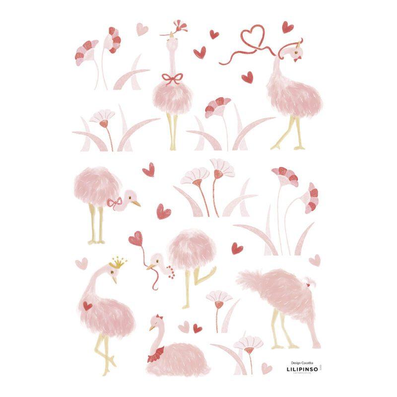 Struisvogel Muursticker A3 Coquette Lilipinso Pink Roze Pastel Hartjes Meisjes Kamer Babykamer Kinderkamer Prinses QIDDIE.com lili-S1402