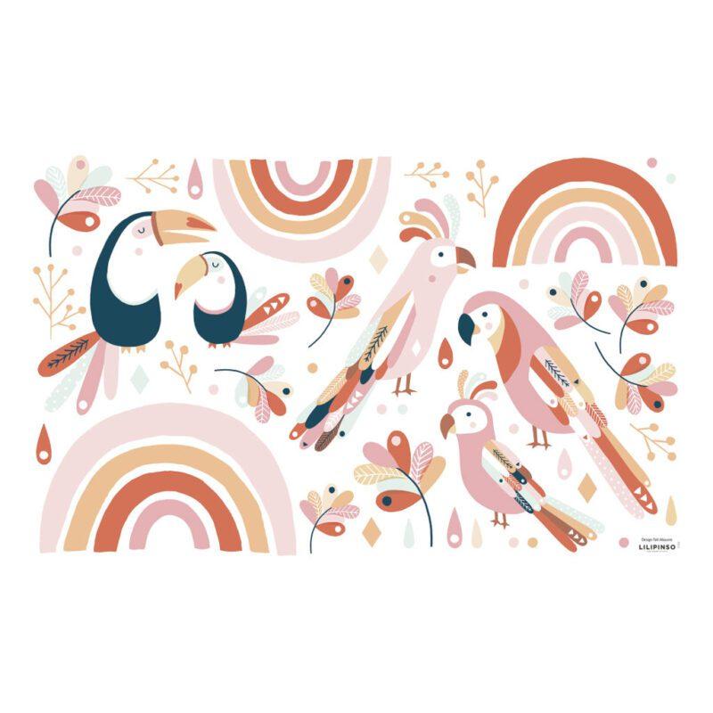 Tropische Vogels Roze & Oranje Muursticker L Paradisio Lilipinso QIDDIE.com lili-S1362