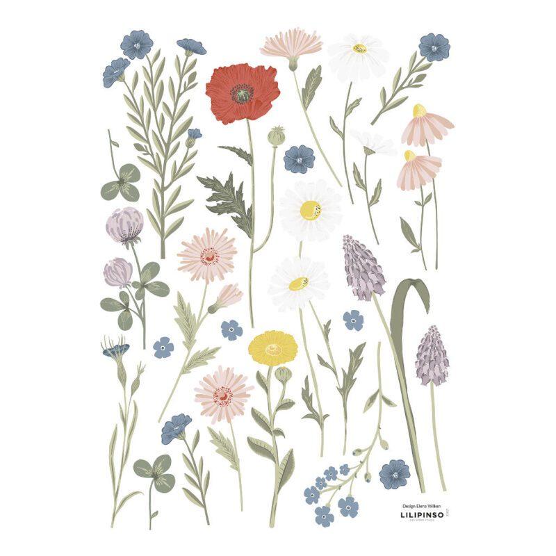 Wilde Bloemen 2 Muursticker A3 Countryside Lilipinso Wild Flowers Lente Bloesem Takken Spring QIDDIE.com lili-S1417