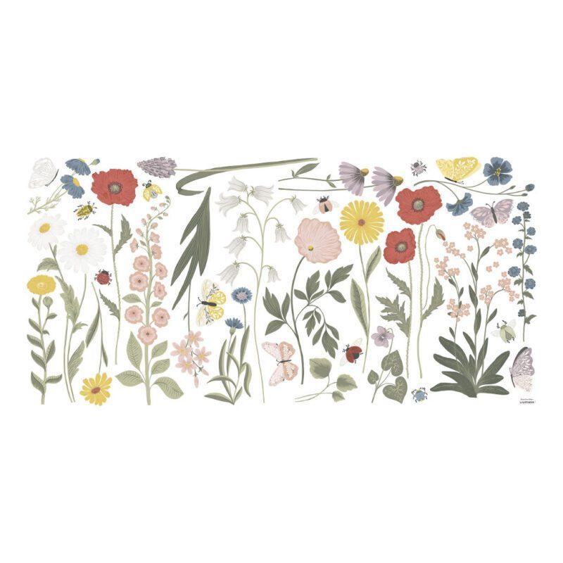 Wilde Bloemen Muursticker Xl Countryside Lilipinso Mega Muur Sticker Wand Decoratie Wilde Bloemen Vlinder Natuur Meisjes Kamer Huiskamer QIDDIE.com lili-S1419