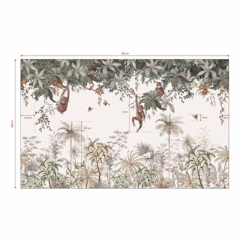 Behang Apen In De Jungle Utan Lilipinso Gehele Muur Behang Dieren Aapjes Bomen Vogels Neutraal Jongen Meis QIDDIE.com lili-H0646