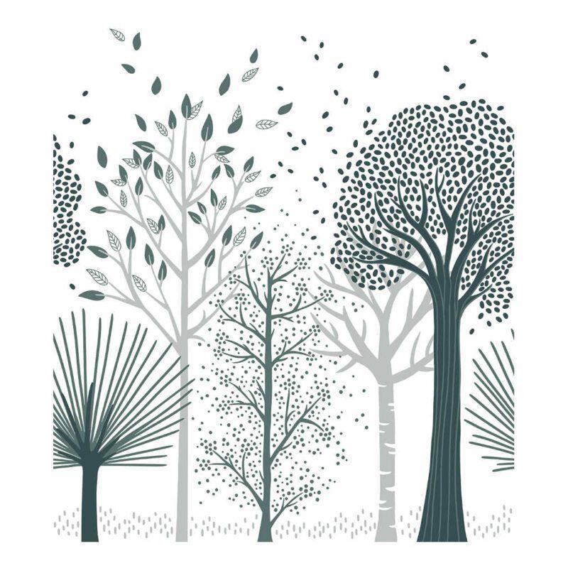 Behang Bomen M Fox Lilipinso Bos Trees Groot Klein Dwarrelende bladeren Jongen Meisje QIDDIE.com lili-H0643