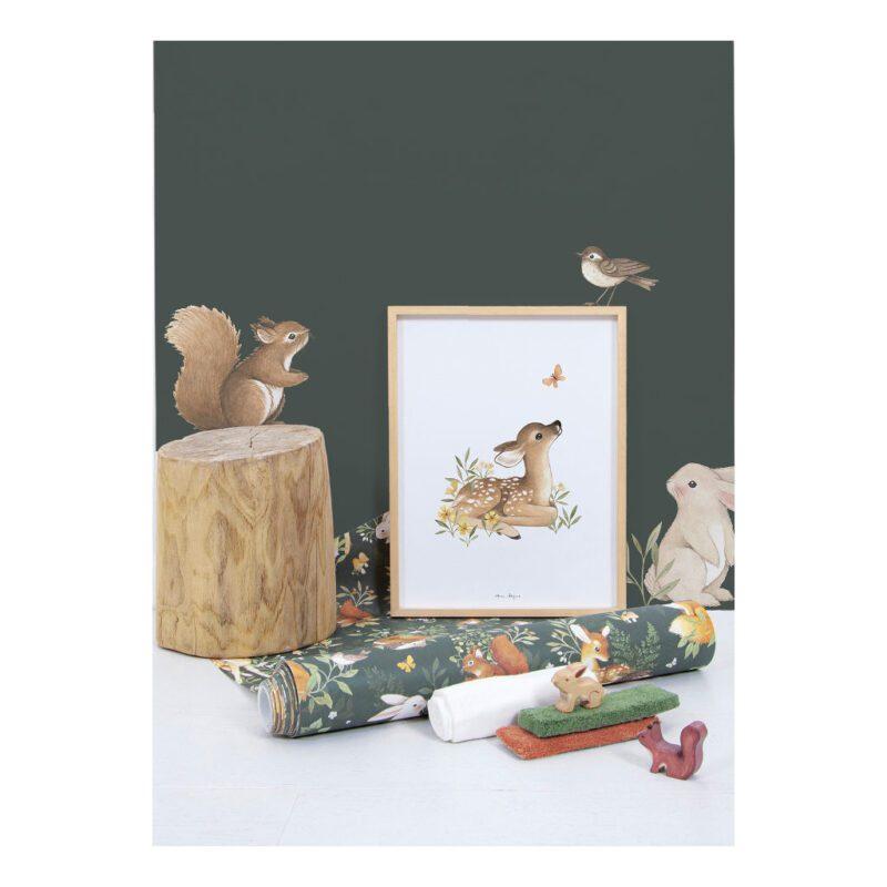 Behang Bosdieren Donker Forest Lilipinso Combineer Kamer Poster Sticker Slapen Spelen Huiskamer QIDDIE.com lili-H0644-br