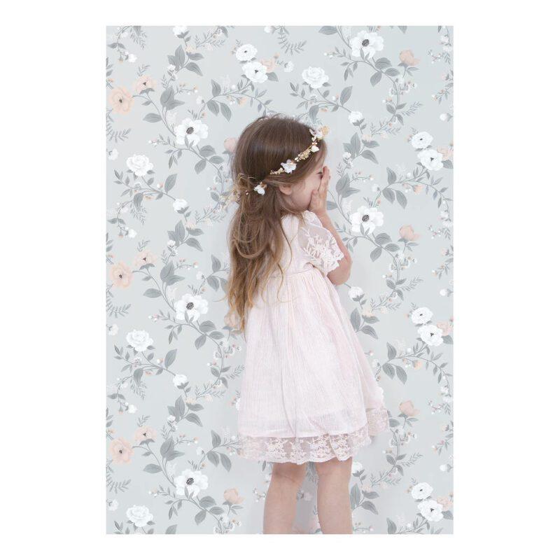 Behang Rozen Grijs Grace Lilipinso Prinses Neutraal Zacht Rustgevend Baby Peuter Kleuter Kamer QIDDIE.com lili-H0638