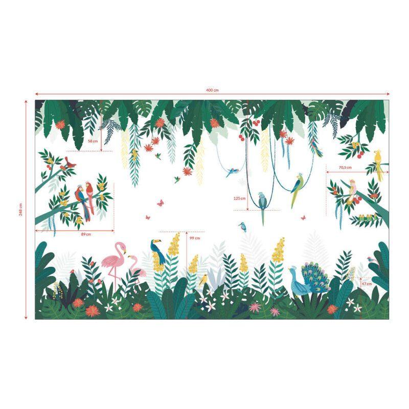 Behang Tropisch Eiland Rio Lilipinso Wereld Verkenen Dromen Spelen Vrolijk Groen Roze Geel Blauw Leuk QIDDIE.com Lili-H0641