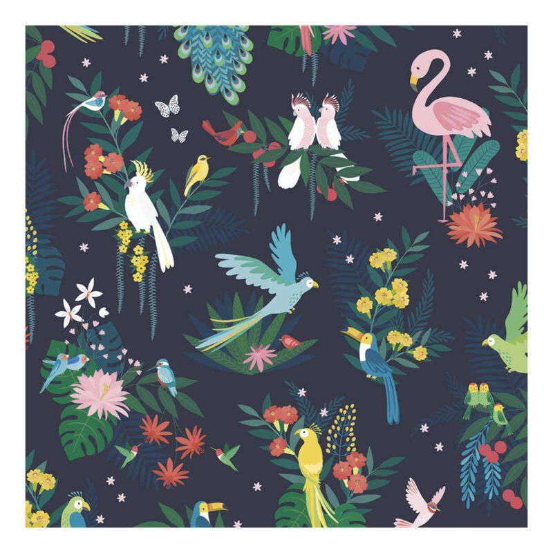 Behang Tropische Vogels Rio Lilipinso Jongen Meisje Baby Peuter Kleuter Kinder Huis Speel Kamer QIDDIE.com lili-h0640