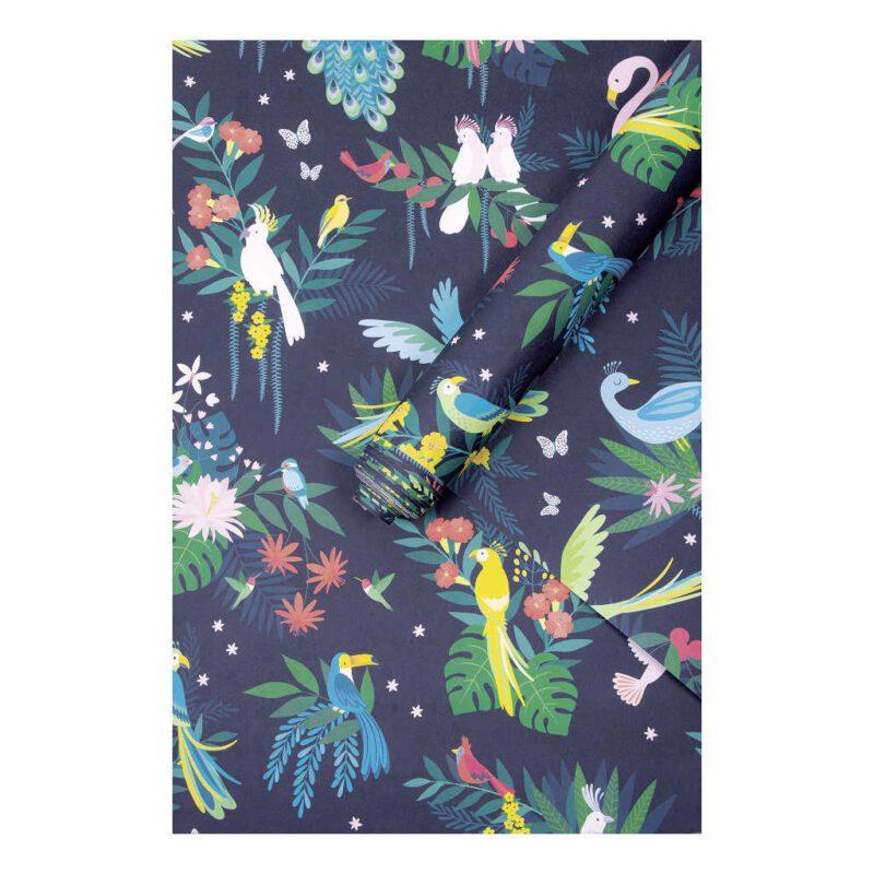 Behang Tropische Vogels Rio Lilipinso Papagaai Bloemen Vliegen Kleuren Vrolijk Druk Flamingo QIDDIE.com lili-h0640