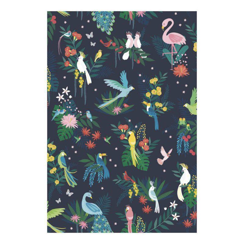 Behang Tropische Vogels Rio Lilipinso Vliegende Volgens Rio De Janeiro Wit Roze Blauw Geel QIDDIE.com lili-h0640