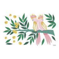Kaketoe Op Tak Muursticker L Rio Lilipinso Knuffel Vogels Roze Groen Aankleding Muur Thema Sfeer Jungle QIDDIE.com Lili-s1427