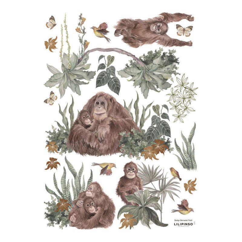 Orang-Oetan Familie Muursticker A3 Utan Lilipinso Verschillende Aapjes Plakken Muur Aankleding Speels Lief QIDDIE.com Lili-S1439
