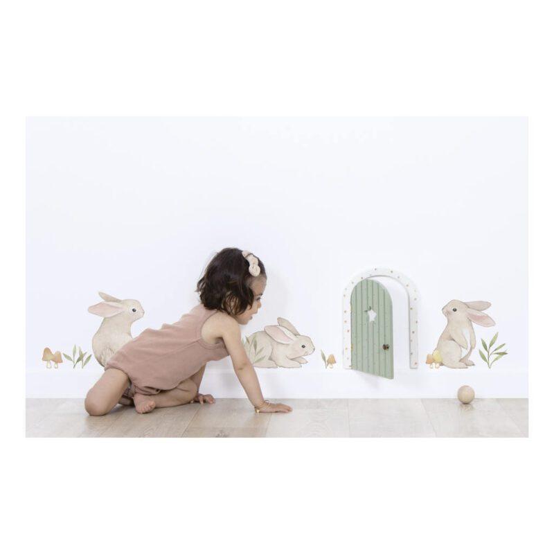 Schattige Konijntjes Muursticker A3 Forest Lilipinso 3 Bunnies Kind Peuter Kleuter Kamer QIDDIE.com lili-S1450